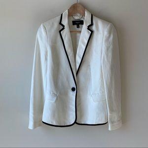 MNG by Mango Linen Blend Blazer White & Black Sz 4